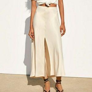 Zara Cream Satin Skirt
